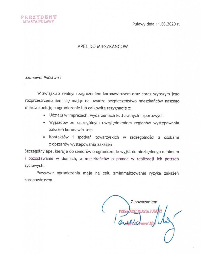Apel Prezydenta Miasta Puławy do Mieszkańców