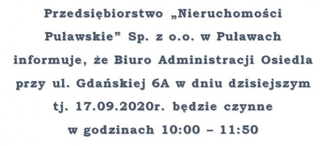 Biuro Administracji Osiedla przy ul. Gdańskiej godziny pracy 17.09.2020 r.